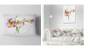 "Design Art Designart Eustoma Flowers Watercolor Sketch Floral Throw Pillow - 12"" X 20"""