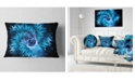 "Design Art Designart Blue Magical Wormhole Fractal Abstract Throw Pillow - 12"" X 20"""