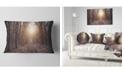 """Design Art Designart Forest Pathway View At Sunset Modern Forest Throw Pillow - 12"""" X 20"""""""