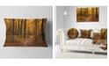 "Design Art Designart Path In The Yellow Fall Forest Modern Forest Throw Pillow - 12"" X 20"""