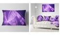 "Design Art Designart Purple Fractal Exotic Plant Stems Abstract Throw Pillow - 12"" X 20"""