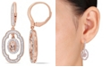 Macy's Morganite (1 ct. t.w.) White Sapphire (1 ct. t.w.) and Diamond (1/10 ct. t.w.) Dangle Earrings in 18k Rose Gold Over Silver