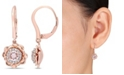 Macy's Morganite (3/4 ct. t.w.) and Diamond (1/6 ct. t.w.) Flower Halo Earrings in 10k Rose Gold