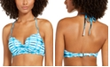 SUNDAZED Tied and True Printed Nixie Bra Sized Ruffle Edge Bandeau Bikini Top, Created for Macy's
