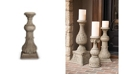 The GG Collection 30-Inch Tall Cast Stone Grey Embossed Candlestick Holder
