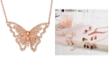 """Le Vian Butterfly Away® Nude Diamond™ 16"""" Pendant Necklace (2-3/4 ct. t.w.) in 14k Rose Gold"""