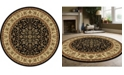 "KM Home CLOSEOUT! 1318/1526/BLACK Navelli Black 5'3"" x 5'3"" Round Area Rug"