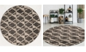 """KM Home CLOSEOUT! 3793/1015/BROWN Imperia Brown 7'10"""" x 7'10"""" Round Area Rug"""