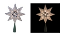 """Northlight 8"""" Silver Mosaic 8-Point Star Christmas Tree Topper - Clear Lights"""