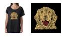LA Pop Art Women's Dolman Cut Word Art Shirt - Dog