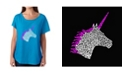 LA Pop Art Women's Dolman Cut Word Art Shirt - Unicorn