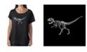 LA Pop Art Women's Dolman Cut Word Art Shirt - Dinosaur T-Rex Skeleton