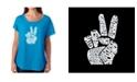 LA Pop Art Women's Dolman Cut Word Art Shirt - Peace Fingers