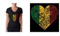 LA Pop Art Women's Word Art V-Neck T-Shirt - One Love Heart