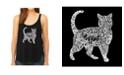 LA Pop Art Women's Premium Word Art Flowy Tank Top- Cat