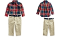 Polo Ralph Lauren Baby Boys Plaid Shirt & Belted Chino Set