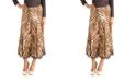 24seven Comfort Apparel Midi Length Brown Animal Print A-Line Skirt