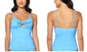 Jessica Simpson On the Spot Printed Tie-Front Tankini Top
