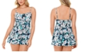 Swim Solutions Vintage Bouquet Empire-Waist Tummy Control Swimdress, Created For Macy's