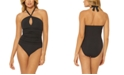 Bleu by Rod Beattie Solid Halter One-Piece Swimsuit
