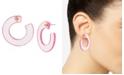 "BCBGeneration Medium Pink Translucent Hoop Earrings 1-1/2"""
