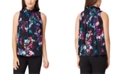 Tahari ASL Petite Floral Shirred Top