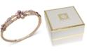 Anne Klein Gold-Tone Crystal & Stone Flower Bangle Bracelet