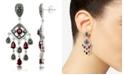 Macy's Marcasite and Garnet (3-3/4 ct. t.w.) Chandelier Post Earrings in Sterling Silver