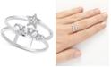 Olivia Burton Swarovski Crystal Celestial Double Band Statement Ring in Silver-Plate