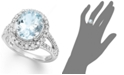 Macy's 14k White Gold Ring, Aquamarine (3-1/4 ct. t.w.) and Diamond (1/2 ct. t.w.) Oval Ring