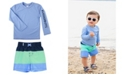 RuffleButts Ruggedbutts Baby Boys Long Sleeve Rash Guard Swim Trunk Set, 2 Piece