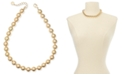 """Charter Club Gold-Tone Beaded Collar Necklace, 16"""" + 2"""" extender, Created For Macy's"""