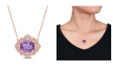 Macy's Amethyst (4 ct. t.w.) and Diamond (1/5 ct. t.w.) Floral Vintage Necklace in 14k Rose Gold