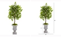 Nearly Natural 45in. Mini Ficus Artificial Tree in Decorative Gray Urn