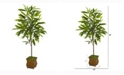 Nearly Natural 50in. Ficus Artificial Plant in Decorative Metal Planter