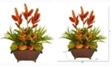 Nearly Natural 27in. Tropical and Faux Fruit Artificial Arrangement in Metal Planter