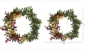 Nearly Natural 21in. Olive, Berries and Gold Eucalyptus Artificial Wreath