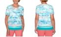 Alfred Dunner Miami Beach Shell-Print Lattice-Neck Top