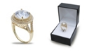 Macy's Cubic Zirconia Double Pave Halo Ring (7-1/2 ct. t.w.) in 18K Gold Plated Sterling Silver