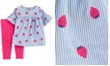 Carter's Baby Girls 2-Pc. Striped Strawberry Top & Leggings Set