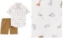 Carter's Baby Boys 2-Pc. Cotton Dinosaur-Print Shirt & Canvas Shorts Set