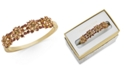 Charter Club Gold-Tone Crystal Flower Cluster Bangle Bracelet, Created for Macy's