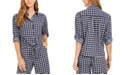 Charter Club Petite Tyler Printed Tie-Hem Blouse, Created for Macy's