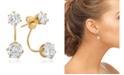 STEELTIME Ladies 18K Micron Gold Plated Stainless Steel Simulated Diamond Ear Jacket