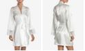 Linea Donatella Lace-Trim Charmeuse Wrapper Robe