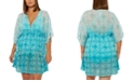 Bleu by Rod Beattie Plus Size Make Waves Printed Caftan Cover Up