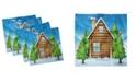 "Ambesonne Log Cabin Set of 4 Napkins, 12"" x 12"""