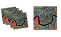 """Ambesonne Colorful City Map Set of 4 Napkins, 18"""" x 18"""""""