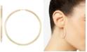 Italian Gold Medium Highly Polished Endless Hoop Earrings in 14k Gold,