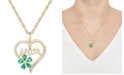 """Macy's Lab-Created Emerald (5/8 ct. t.w.) & Lab-Created White Sapphire (1/10 ct. t.w.) Mom 18"""" Pendant Necklace in 10k Gold"""